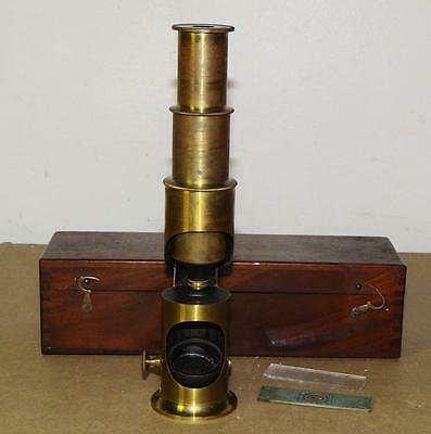 Antique BRASS French SCIENTIST RESEARCHERS FIELD MICROSCOPE w/WOOD CASE