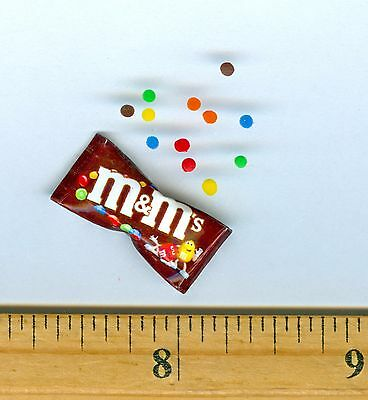 Dollhouse Miniature size Colorful Chocolate Candy bag & 12 loose Candies.