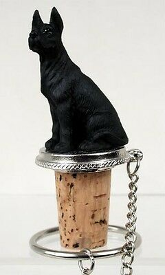 Great Dane Black Dog Hand Painted Resin Figurine Wine Bottle Stopper