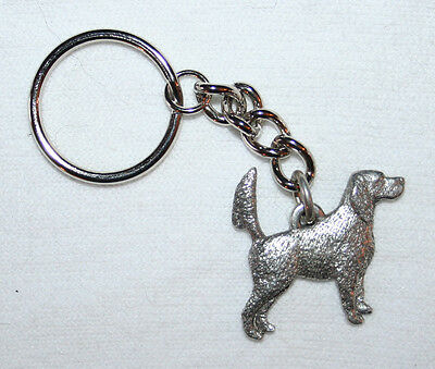 ENGLISH SETTER Tail Up Dog Fine Pewter Keychain Key Chain Ring Fob