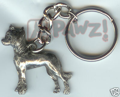 CHINESE CRESTED Dog Fine Pewter Keychain Key Ring NEW