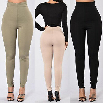 Womens Leggings Solid Seamless Slim Yoga Pants Black Stretch One Size New Gym