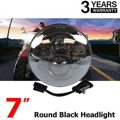 "7"" MOTORCYCLE BLACK PROJECTOR DAYMAKER HID LED LIGHT BULB HEADLIGHT For Harley H"