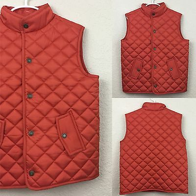 Janie And Jack New Boys Puffer Quilted Orange Vest Size 5-6 $60