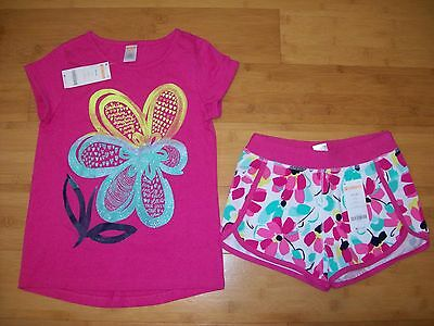 NWT Gymboree Girls Size S 5 - 6 GymGo Flower Outfit - Pink Tee Top & Shorts NEW