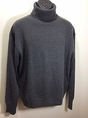 J PETERMAN Men's Sweater Large Turtleneck Silk Cashmere Charcoal Gray Soft