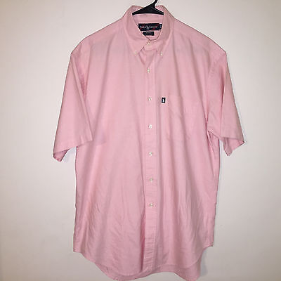 Euc Mens Pink Polo Ralph Lauren Short Sleeve Cotton Button Down Shirt M