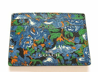 Coach Signature Rose Meadow Card Case- floral blue green orange white F57989