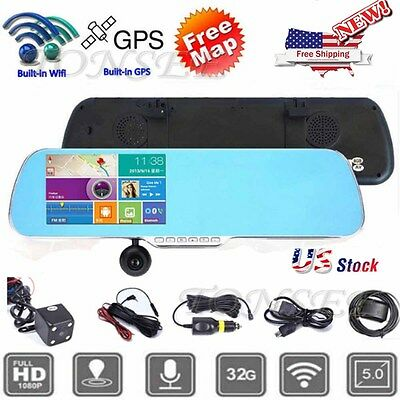 "5"" 1080p Android GPS Car DVR Camera Dual Lens WiFi Rearview Mirror Touch Screen"