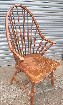 Old vintage 19th century style high spindle back Quaker Windsor Carver chair