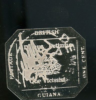 Sterling Silver Stamp British Guiana 1856 1 cent black on magenta 17.16 g A160