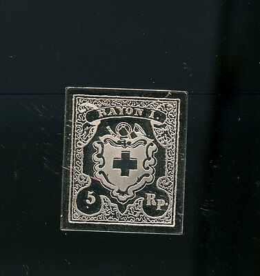 Sterling Silver 1851 Switzerland 5R Rayon I Full Blue Frame 8.55 g  A197