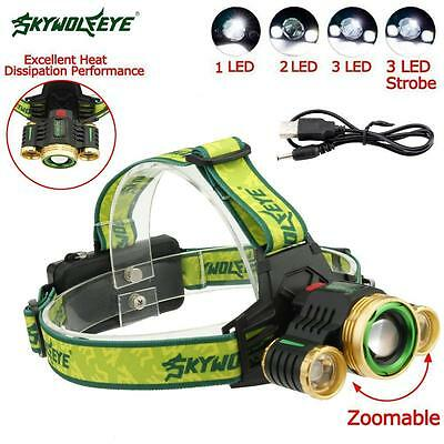 22000 LM CREE T6 3 LED USB Headlight Zoom 18650 Flashlight Rechargeable Torch BY