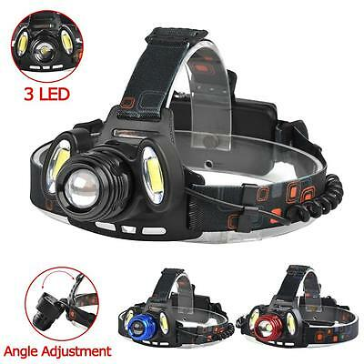22000 LM T6 +COB 3 LED Zoom Headlamp Waterproof 18650 Camping Flashlight Lamp BY