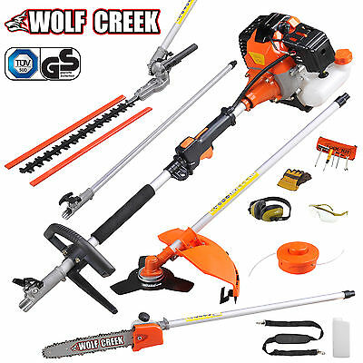 Garden Hedge Trimmer 5 in 1 Petrol Strimmer Chainsaw Brushcutter Multi Tool 58cc