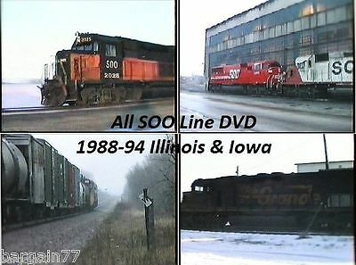 ALL SOO Line Railroad DVD- 2 hours of 1988-1994 Video from Illinois & Iowa