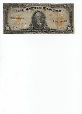 1922 United States $10. Gold Coin Bill. Large Paper Money