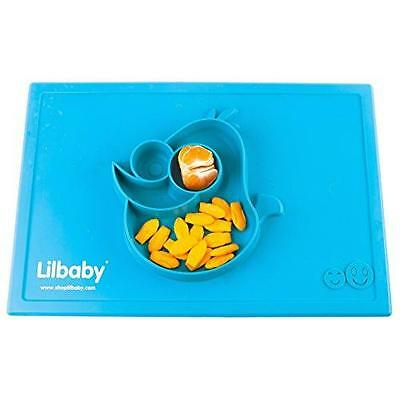 Placemat and Plate Suction Silicone by Lilbaby (Bird, Light Blue) New