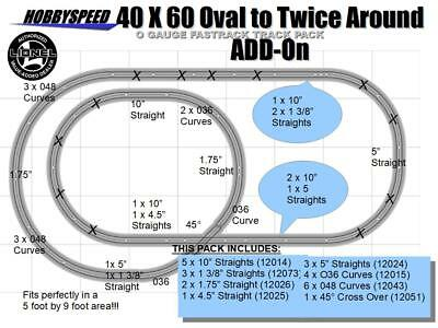 LIONEL FASTRACK DAYLIGHT SIDING TRACK LAYOUT train pack plan 4/' X 5/' O GAUGE NEW