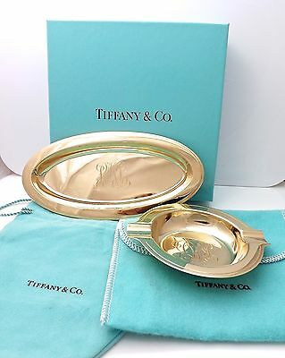 Rare Tiffany & Co Makers Cigarette Dish & Ashtray Solid 14k Gold Box & Pouches