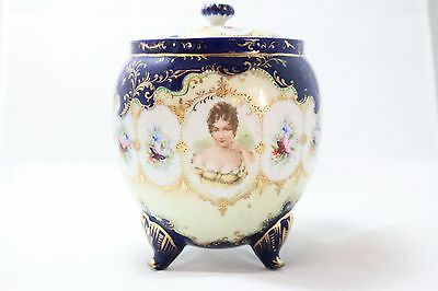 Antique German Porcelain Cookie Jar with Painted Detail Blue and Gold