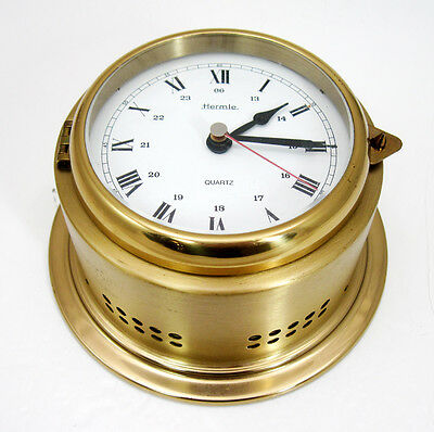 Vintage Schatz German Marine Ship Ocean Quartz Bell Brass Clock RUNNING
