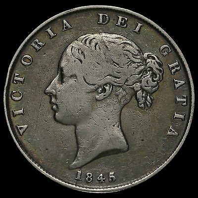 1845/3 Queen Victoria Young Head Silver Half Crown