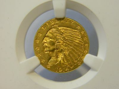 1914 $2.5 Gold Indian Ngc Ms 62 Key Date