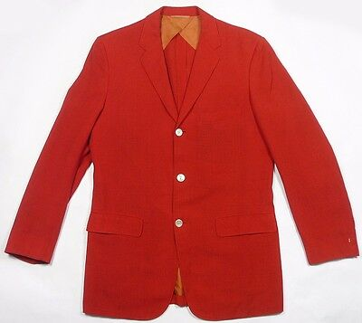 VINTAGE 1950's PALM BEACH BULLOCK'S LOS ANGELES RED LINEN 3-BUTTON BLAZER JACKET