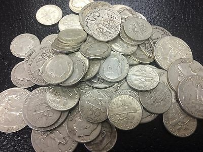 $10 Face Value Mixed U.S. 90% Silver Coins- Quarters & Dimes-042530