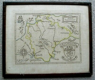 Antique Manuscript Hand Drawn MAP of DEVON on CLOTH Framed and Glazed PLYMOUTH