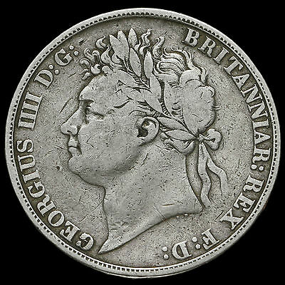 1821 George IV Milled Silver Secundo Crown, Fine