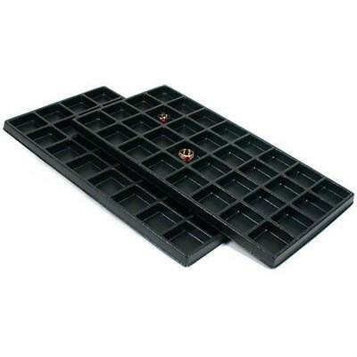 2 Black Plastic 32 Compartment Jewelry Tray Inserts