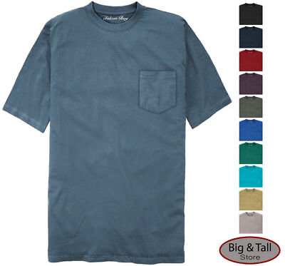 Falcon Bay Big & Tall Men's 100% Cotton Pocket T-Shirt  3XL - 8XL 2XLT - 6XLT