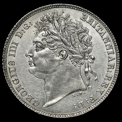 1821 George IV Milled Silver Sixpence, First Reverse, UNC