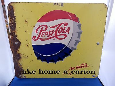 Vintage Pepsi Cola Double Sided Advertising Display Rack Sign Rare