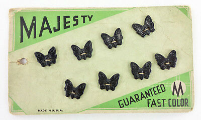 Vintage Bakelite Butterfly Buttons on Original Majesty Card Set 8 Dk Blue/Black