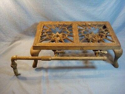 Antique Simplex Licking Stove Co. Cast Iron Gas 2 Burner Stove Hot Plate Camping
