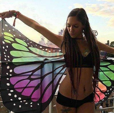 US SHIP! Colorful Polyester Butterfly Wings Fairy Ladies Pixie Costume Accessory