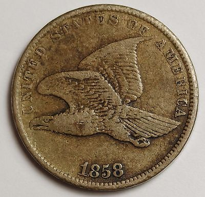 1858 Flying Eagle.  Small Letters.  V.F.  108745