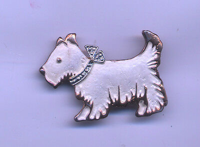 White Enamel with Marcasite Bow Scotty  Westie Terrier Brooch Pin