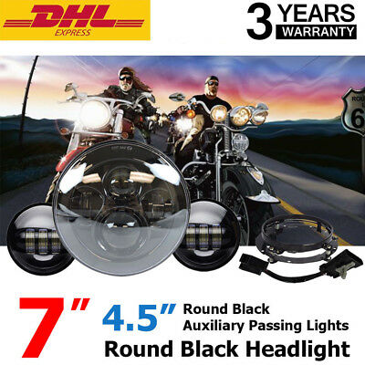 "7"" Black LED Projector Daymaker Headlight + Passing Lights For Harley Touring H4"