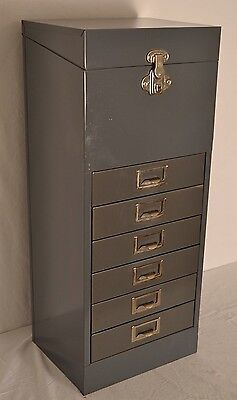 "Vintage EAGLE LOCK  30"" Industrial Metal Locking File Cabinet Chest 6 Drawers"