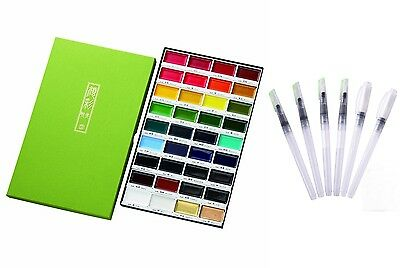 Kuretake Gansai Tambi Solid Water Colors​ 36 Set and 6 Water Color Brush Pen Set