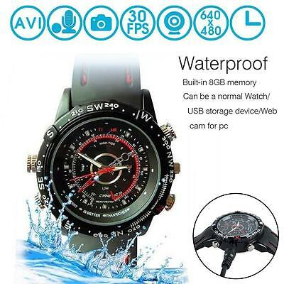 Waterproof 8GB Spy Wrist Watch HP/ DVR Video Hidden Mini Camera Cam Camcorder BY