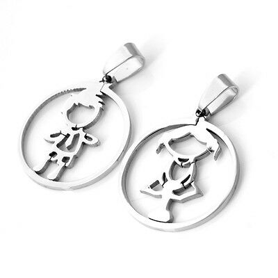 New Stainless Steel Silver Simple Boy Girl Shape Lover Couple Pendant Necklaces