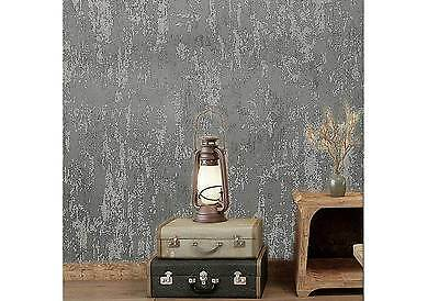 3D textured GREY Concrete wash wallpaper Industrial Shop fitting Murals wall