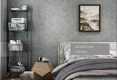 Modern textured Cement Concrete look Slate Stone GREY wallpaper Industrial Shop