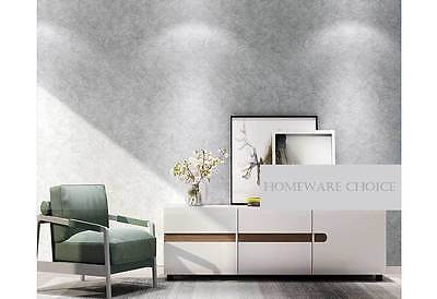 Modern textured Cement Concrete look light Silver GREY wallpaper Industrial Shop