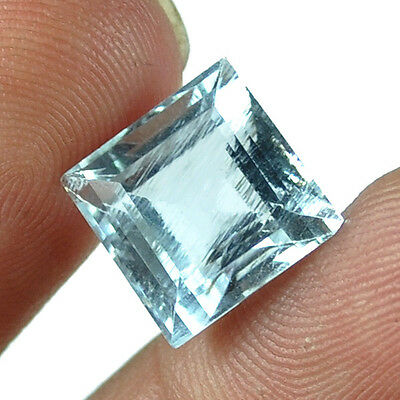 Precious 7.60 Cts Natural Untreated Brazilian Aqua Blue Aquamarine Square Gem